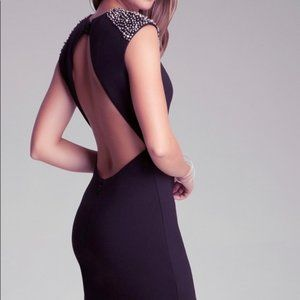 Bebe Payton Dress Open Back Embellished Shoulders